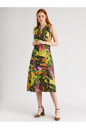 Vekem Kadın Yeşil Fuşya Desenli Sıfır Kol Anvelop Elbise 9109-0040 0