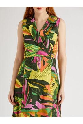 Vekem Kadın Yeşil Fuşya Desenli Sıfır Kol Anvelop Elbise 9109-0040 3