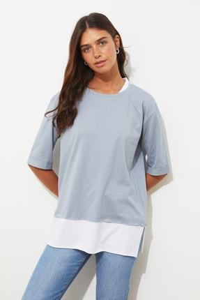 TRENDYOLMİLLA Gri Süprem Parça Detaylı Boyfriend Örme T-Shirt TWOSS20TS0858 0