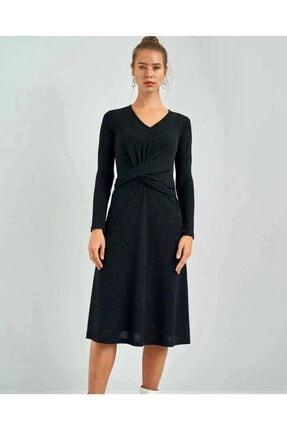 Kadın Siyah Ekol Simli V Yaka Elbise 1093.1