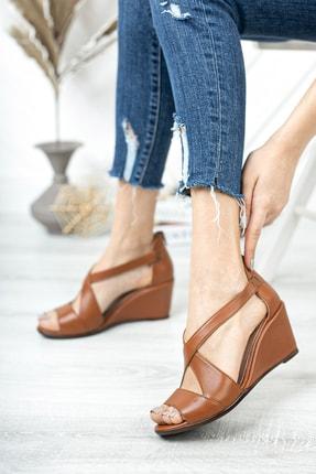 Deripabuc Hakiki Deri Taba Kadın Dolgu Topuklu Deri Sandalet Dp38-0115 1