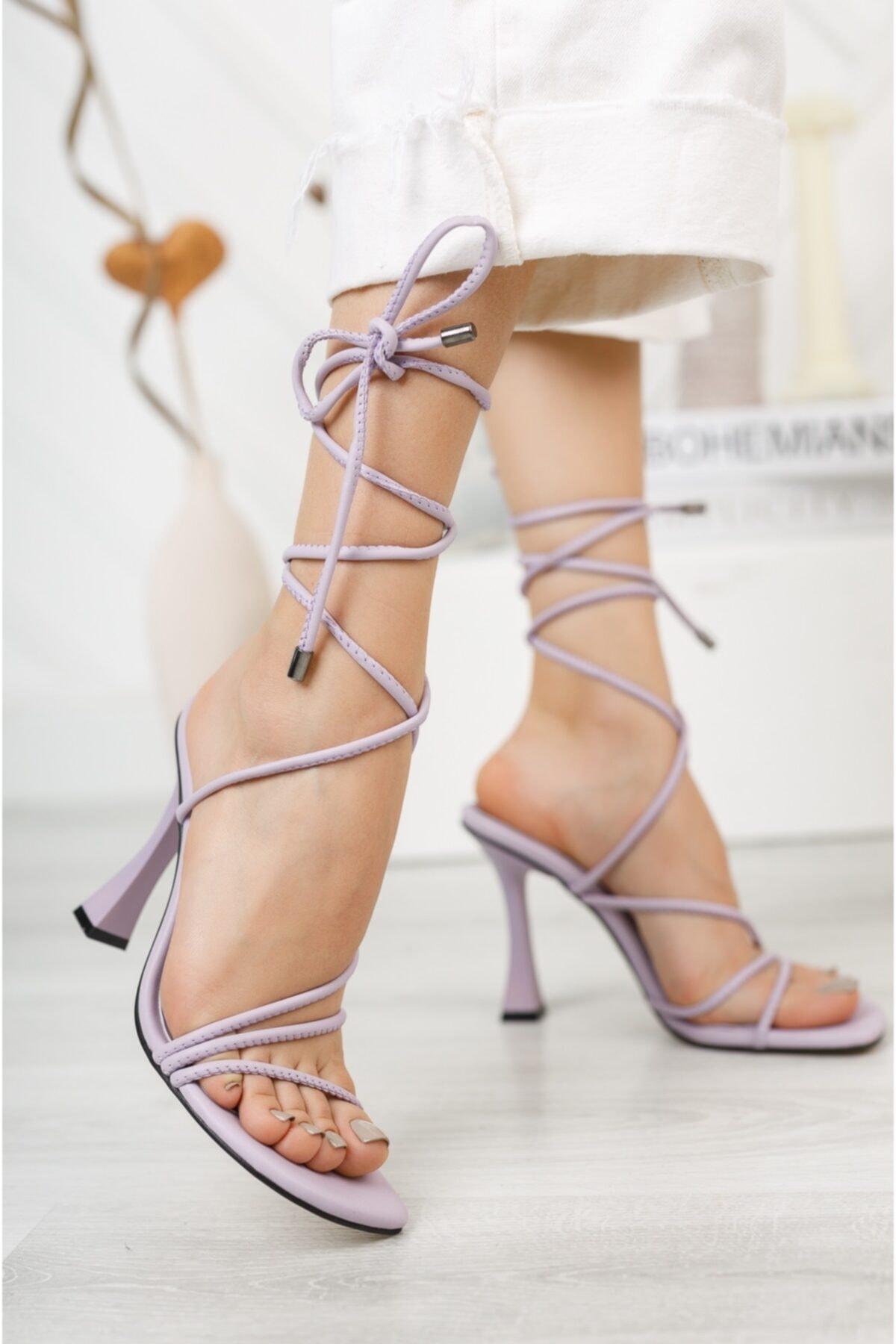 Kadın Lila Bilekten Bağlama Yüksek Topuklu Ayakkabı