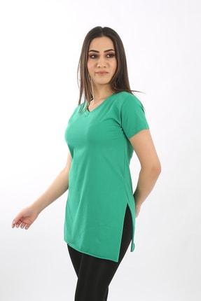 SARAMODEX Kadın Yeşil V Yaka Düz Renk Basic Tişört 0