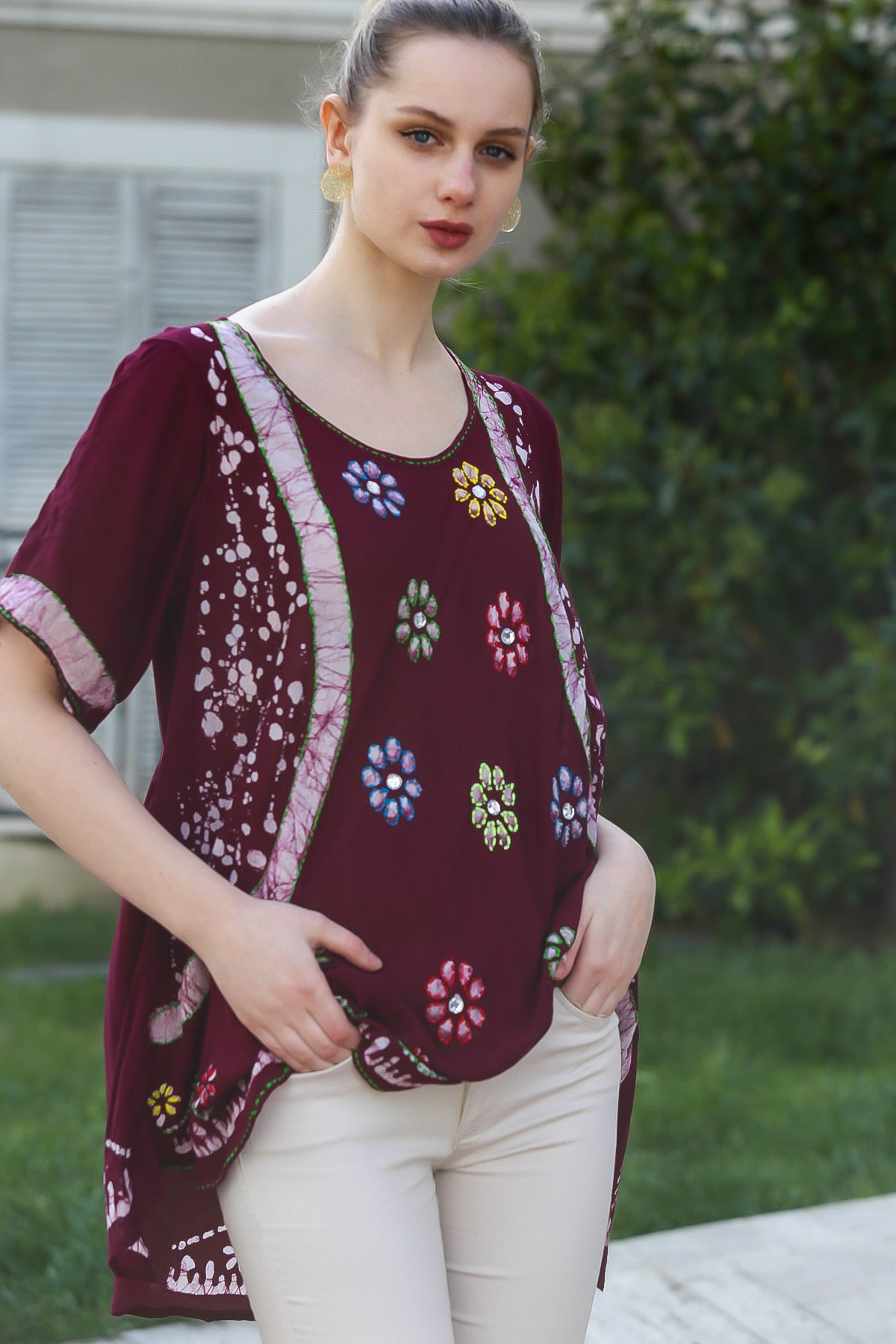 Chiccy Kadın Mürdüm U Yaka Çiçek Nakışlı Batik Desenli Salaş Tunik Bluz M10010200BL95380 2