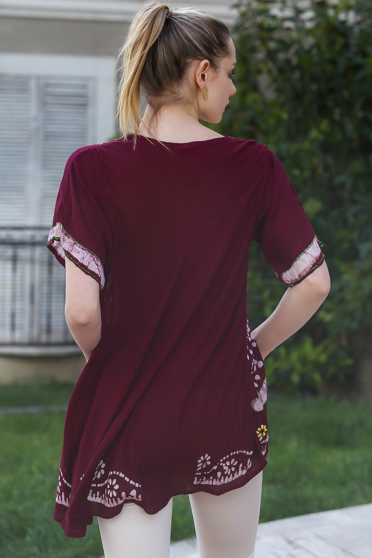 Chiccy Kadın Mürdüm U Yaka Çiçek Nakışlı Batik Desenli Salaş Tunik Bluz M10010200BL95380 3