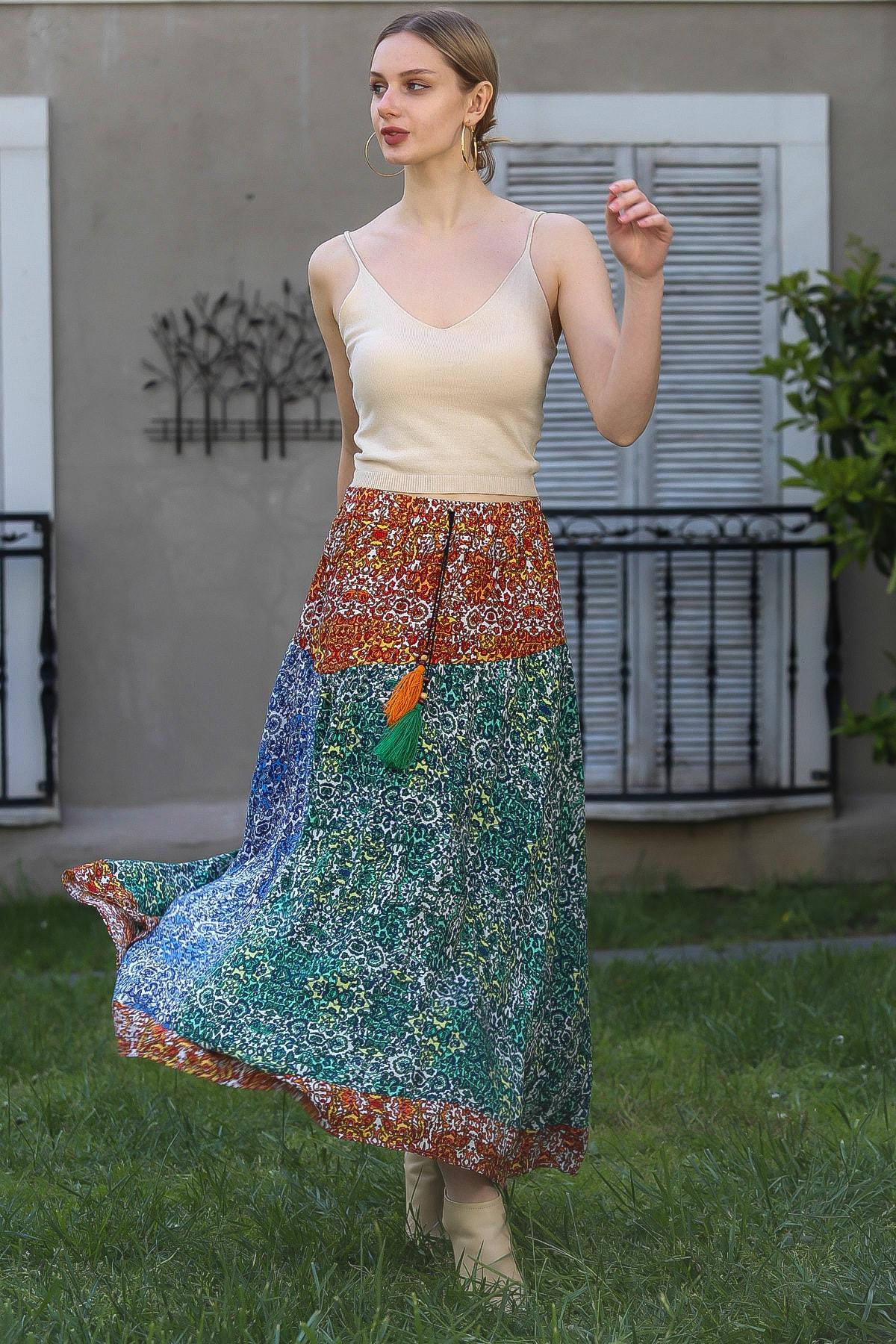 Chiccy Kadın Kiremit-Yeşil Çıtır Çiçek Desenli Kiremit Mavi Yeşil Bloklu Kloş Uzun Etek M10110000ET99252 2