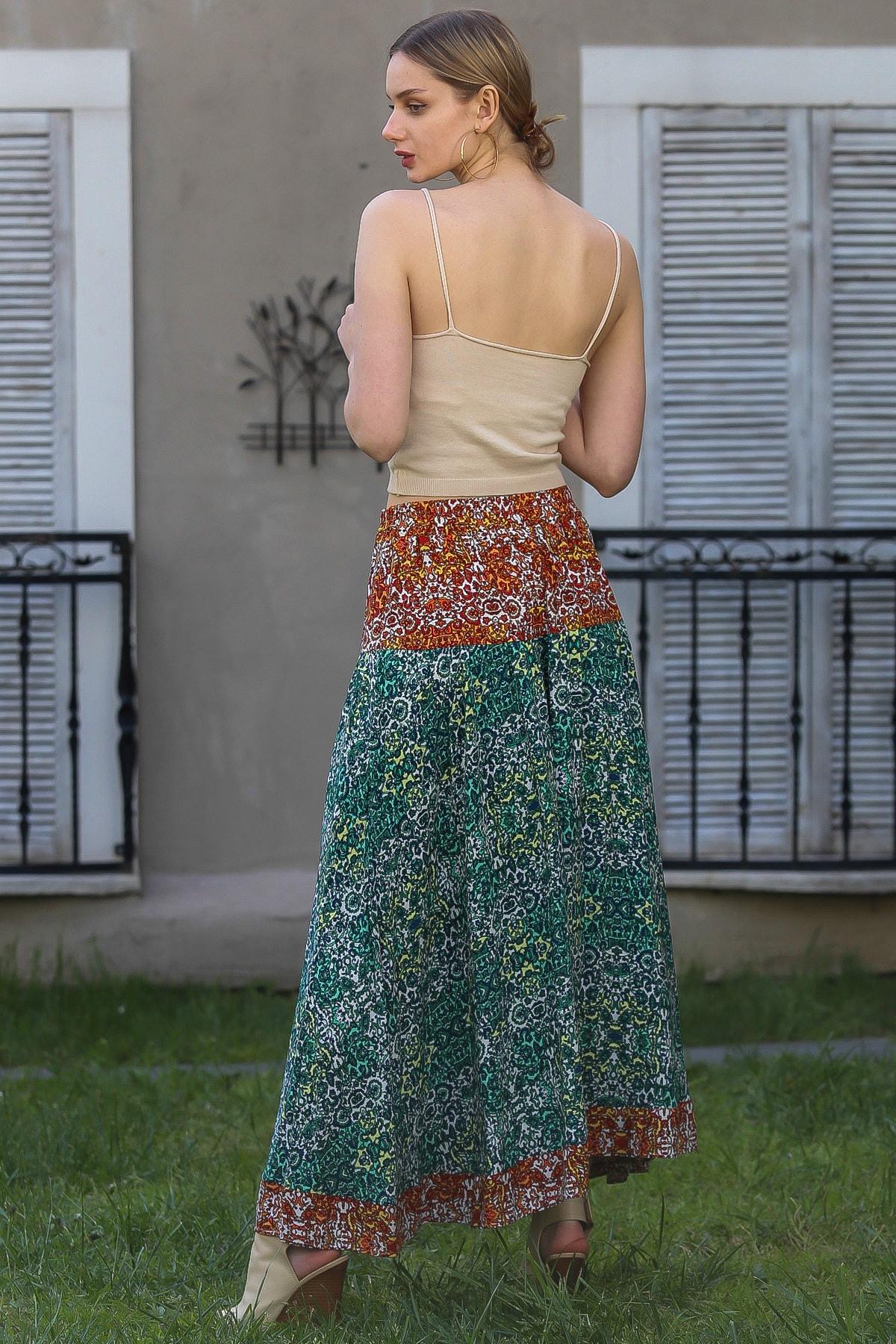 Chiccy Kadın Kiremit-Yeşil Çıtır Çiçek Desenli Kiremit Mavi Yeşil Bloklu Kloş Uzun Etek M10110000ET99252 4