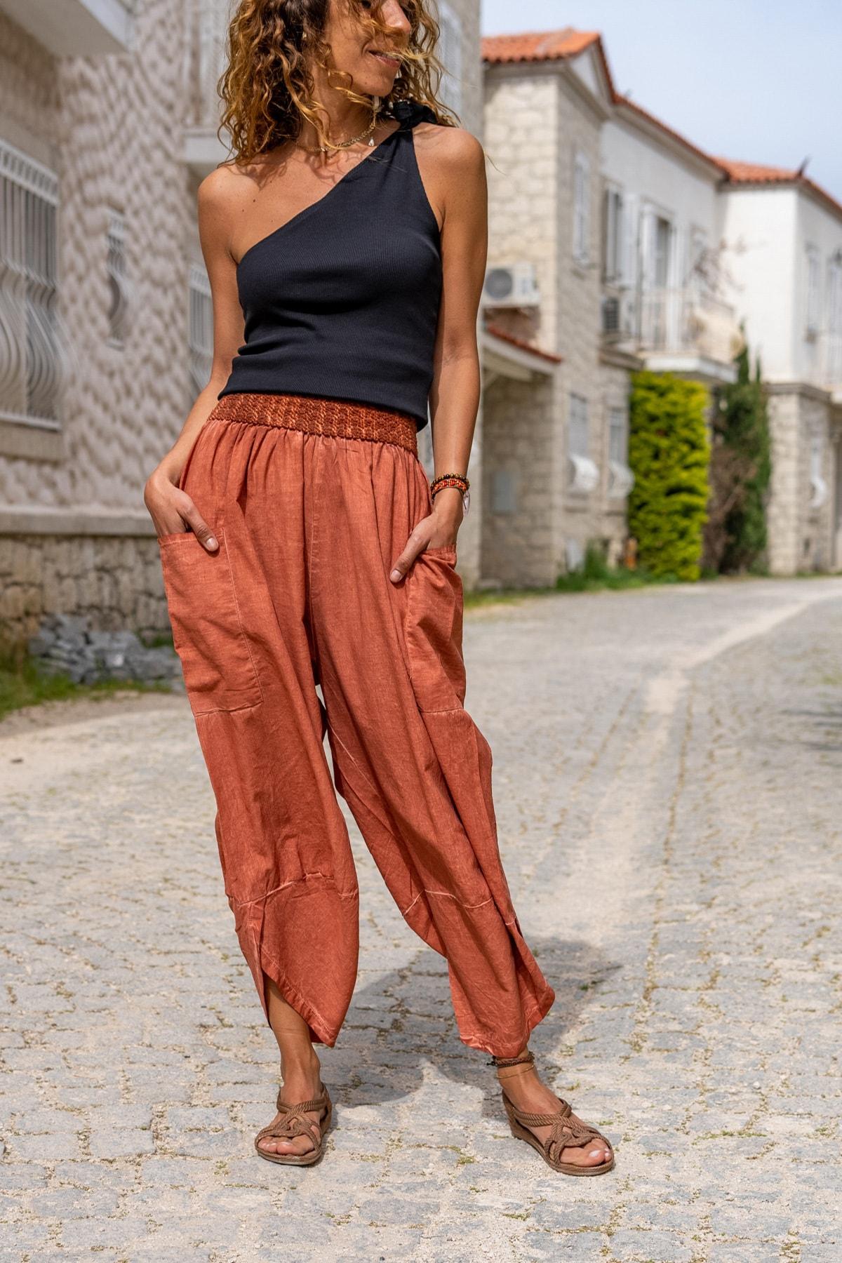 Güneşkızı Kadın Kiremit Yıkamalı Keten Cepli Beli Lastikli Şalvar Pantolon GK-CCK58048 0