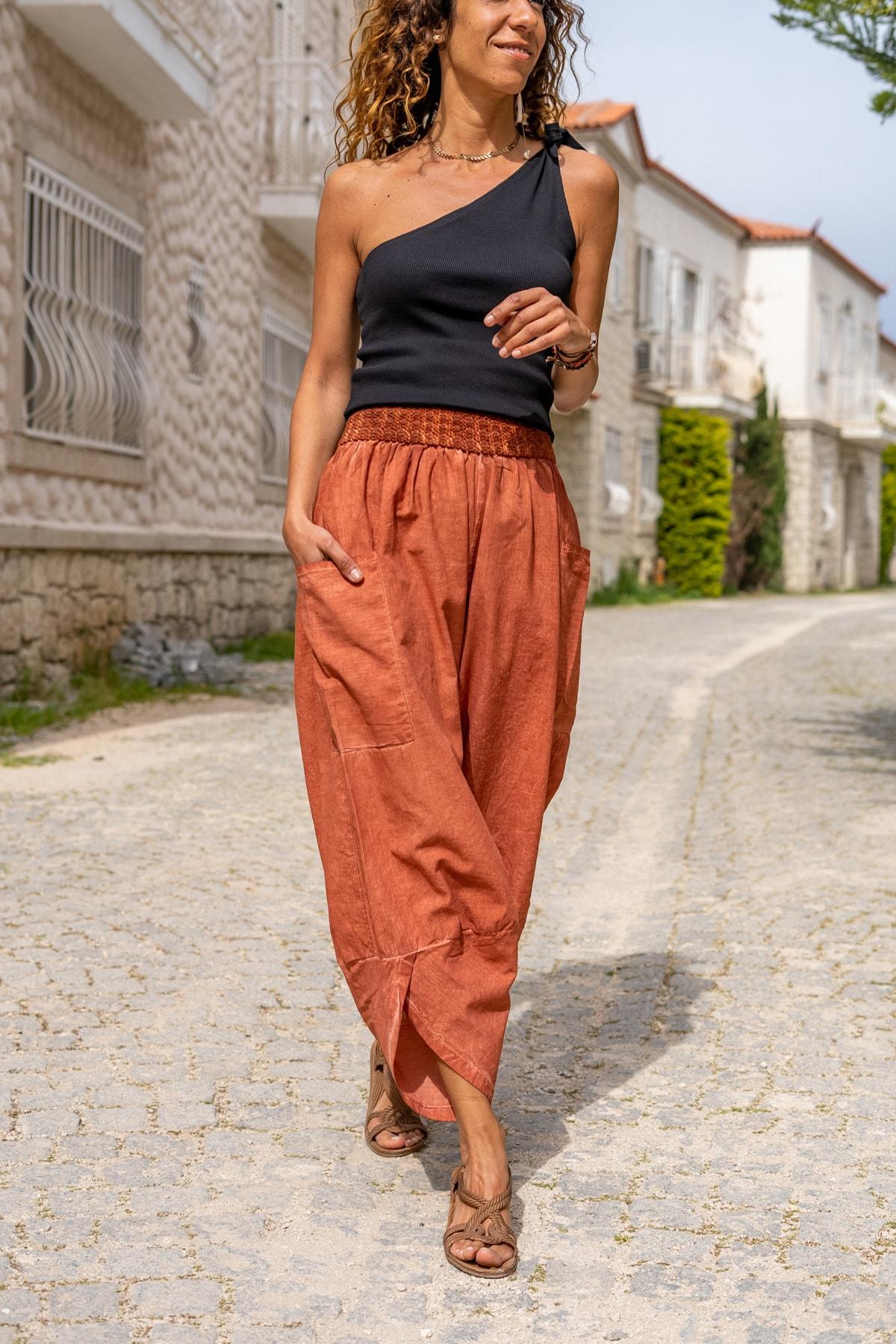 Güneşkızı Kadın Kiremit Yıkamalı Keten Cepli Beli Lastikli Şalvar Pantolon GK-CCK58048 1