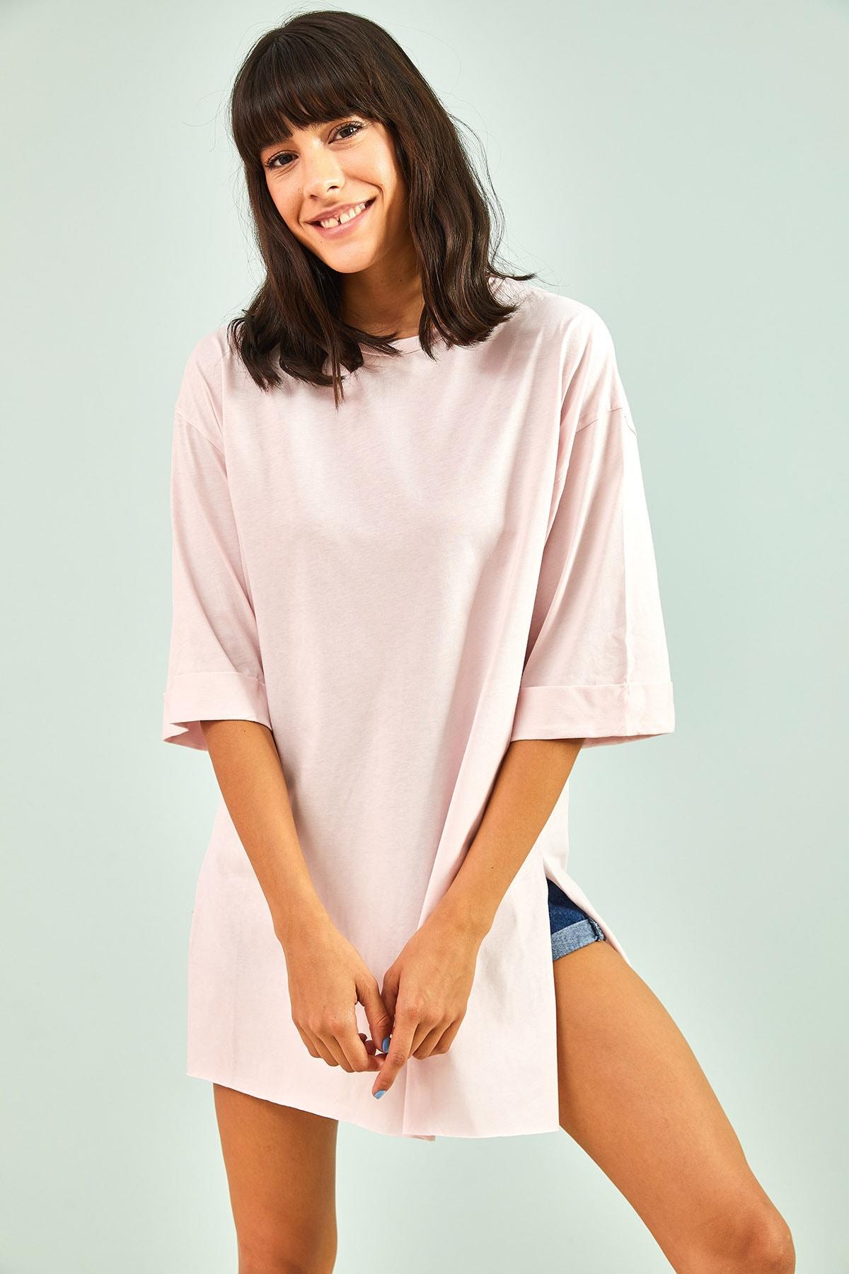Kadın Pembe  Yan Yırtmaçlı Duble Kol Basic Oversize Tshirt