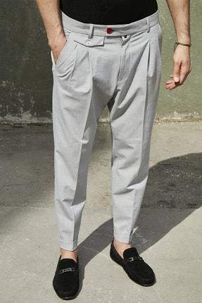 Sateen Men Erkek Gri Duble Paça Pileli Pantolon 0
