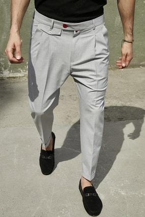 Sateen Men Erkek Gri Duble Paça Pileli Pantolon 1