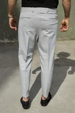 Sateen Men Erkek Gri Duble Paça Pileli Pantolon 4