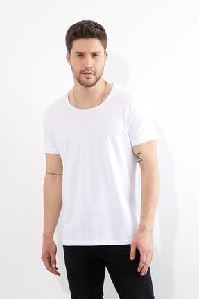 Figo Erkek BeyazBisiklet Yaka Basic T-shirt 0