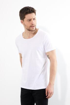 Figo Erkek BeyazBisiklet Yaka Basic T-shirt 2