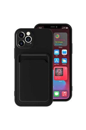 Fibaks Apple Iphone 12 Pro Max Kılıf Lansman Dokulu Kamera Korumalı Kartlıklı Kart Bölmeli Yumuşak Silikon 0