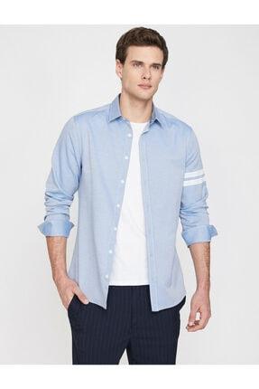Koton Erkek Mavi Klasik Yaka Uzun Kollu Çizgili Shirt 9YAM64052OW 0