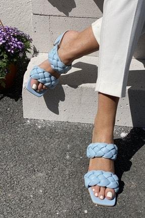 İnan Ayakkabı Kadın Mavi Önlü Arkalı Örgü Detaylı Terlik 1