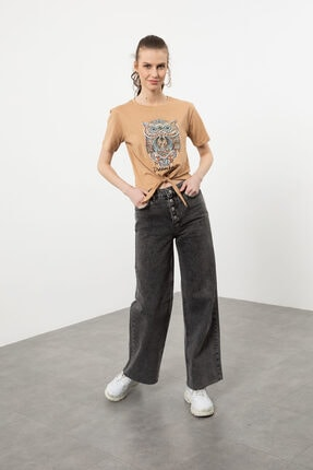 Arma Life Kadın Kahverengi Taşlı Baykuş Baskılı Bağlamalı T-shirt 0