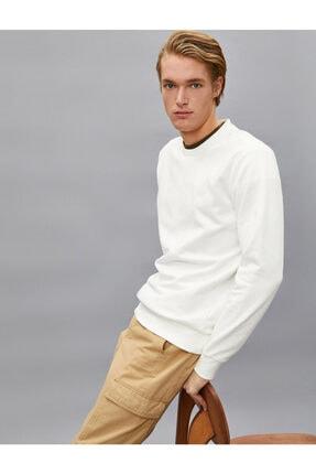 Koton Erkek Beyaz Pamuklu Basic Bisiklet Yaka Uzun Kollu Sweatshirt 1