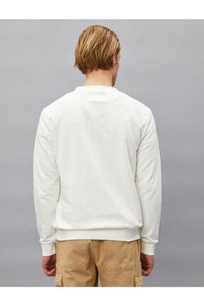 Koton Erkek Beyaz Pamuklu Basic Bisiklet Yaka Uzun Kollu Sweatshirt 3