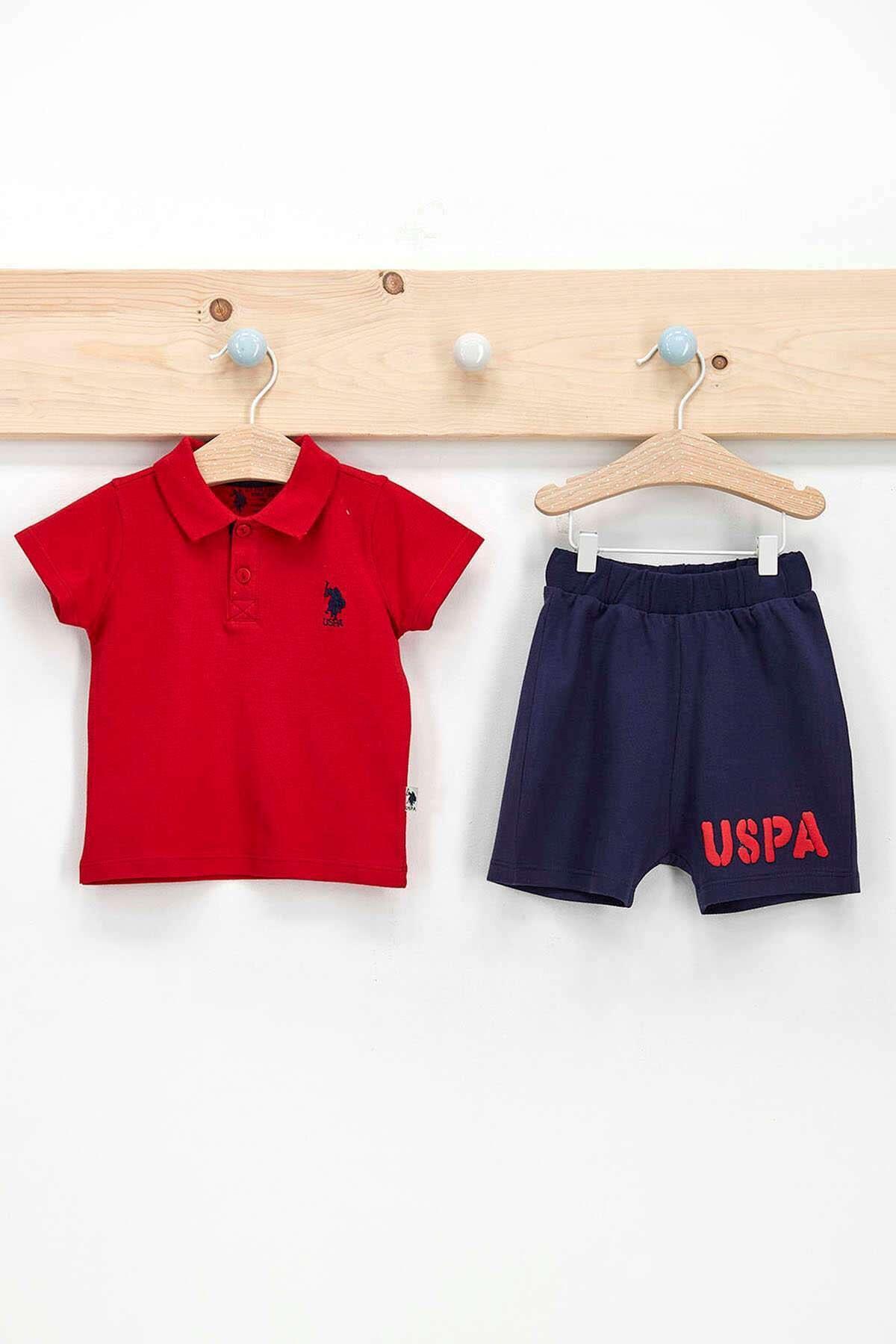 Erkek Bebek Kırmızı Dik Yaka T-shirt Takım