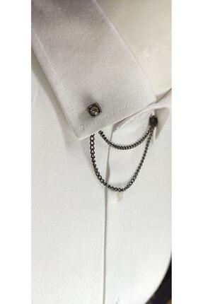 Elegante Cravatte Zincirli Gömlek Yaka Iğnesi 1
