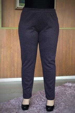LİKRA Kadın Mor Büyük Beden Beli Lastikli Full Lı Çelik Interlok Pantolon 2