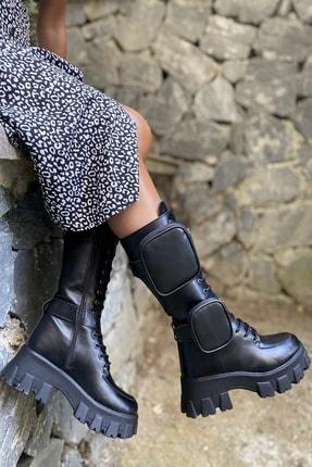 İnan Ayakkabı Bayan Yan Tarafı 2 Adet Cep Detaylı Fermuarlı Çizme 1