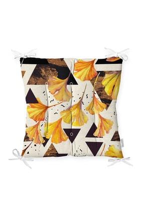 Realhomes Geometrik Çizimler Üzerinde Gold Çiçek Desenkli Pofidik Sandalye Minderi 0