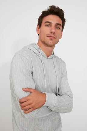 TRENDYOL MAN Gri Erkek Kapüşonlu Regular Sweatshirt TMNAW21SW0629 0