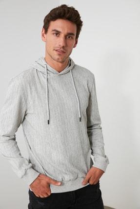 TRENDYOL MAN Gri Erkek Kapüşonlu Regular Sweatshirt TMNAW21SW0629 3