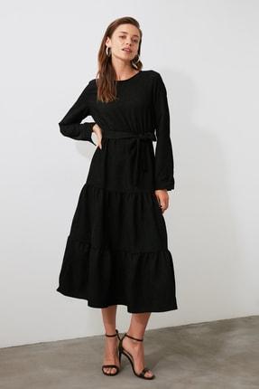 TRENDYOLMİLLA Siyah Kuşaklı Kadife Büzgülü Elbise TWOAW20EL2133 2