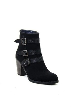 ayakkabiyolla Kadın Siyah Tokalı Topuklu Bot 1