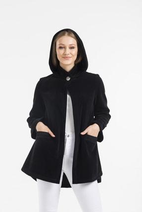 Balo Moda Kadın Siyah Kapüşonlu Softshell Panço 2