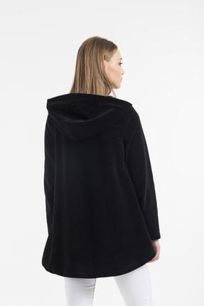 Balo Moda Kadın Siyah Kapüşonlu Softshell Panço 4