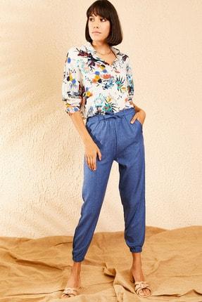 Bianco Lucci Kadın İndigo Beli ve Paçası Lastikli Mevsimlik Rahat Pantolon 10111026 3