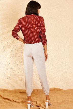 Bianco Lucci Kadın Açık Gri Beli ve Paçası Lastikli Mevsimlik Rahat Pantolon 10111026 4