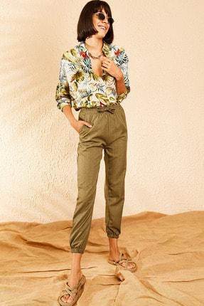 Bianco Lucci Kadın Haki Beli ve Paçası Lastikli Mevsimlik Rahat Pantolon 10111026 0