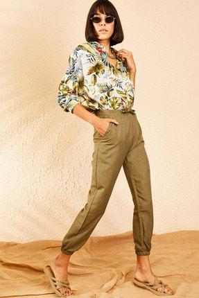 Bianco Lucci Kadın Haki Beli ve Paçası Lastikli Mevsimlik Rahat Pantolon 10111026 3