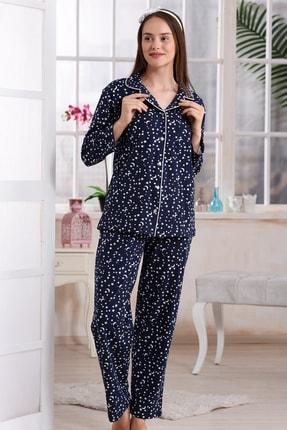 Emose Kadın Lacivert Düğmeli Lohusa Pijama Takımı 0