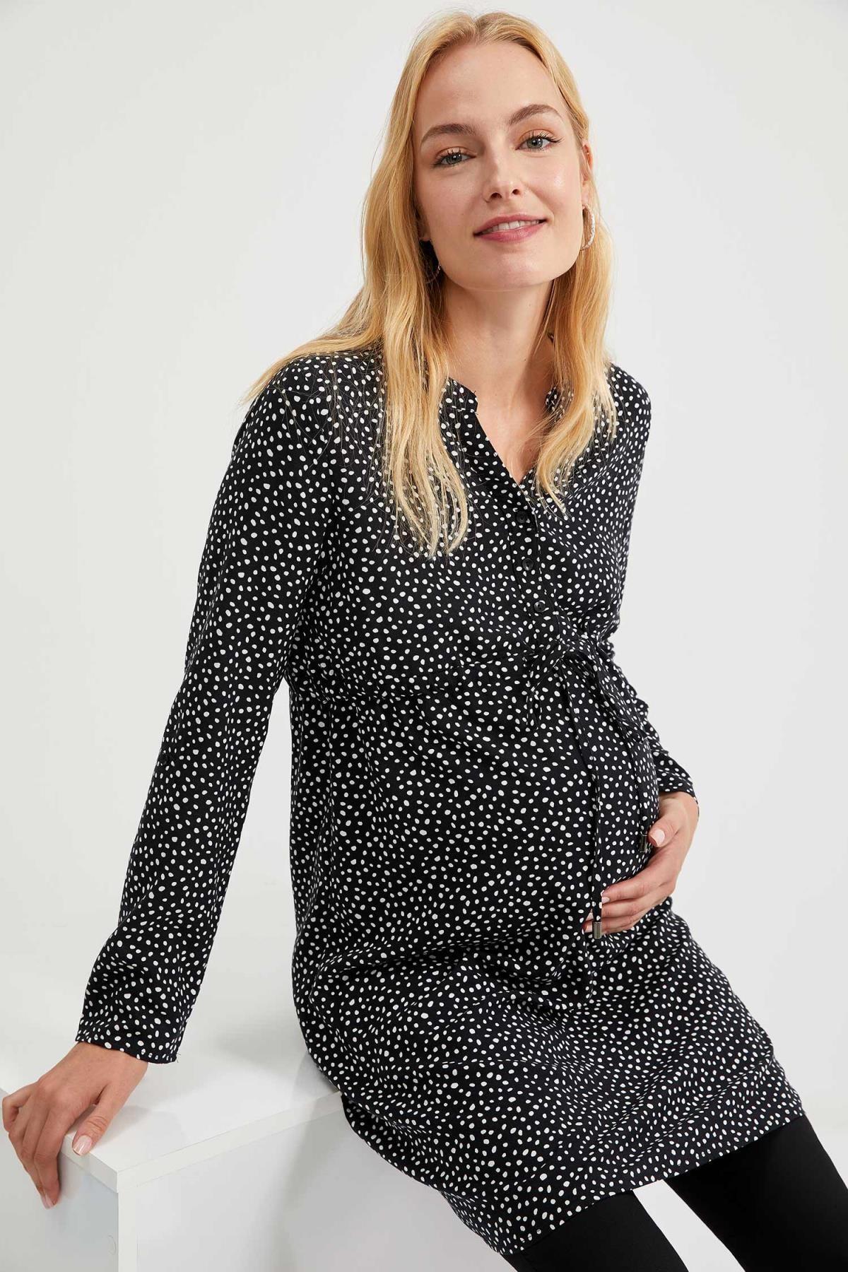 Defacto Kadın Dark Black Desenli Düğme Detaylı Hamile Elbise S1709AZ20AU 0