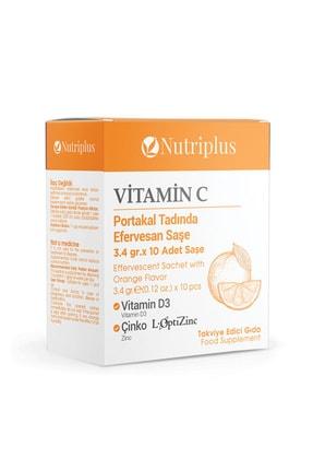 Farmasi Nutriplus Vitamin C,vitamin D3 Ve Çinko Içeren Efervesan Takviye Edici Gıda 3,4 Gr X 10 Saşe 0
