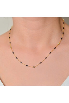 Lieza Siyah Mineli Zincir Kolye Ve Bileklik Jewelry Stg000035 1