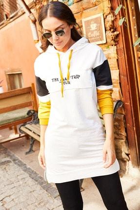 armonika Kadın Ekru Kolu Şeritli Önü Yazılı Kapişonlu Tunik Arm-20Y103001 0