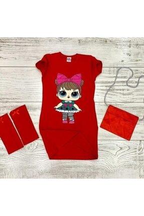 Lol Kız Çocuk Kırmızı Kolluklu Ve Çantalı Elbise 0