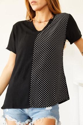 XHAN Kadın Siyah V Yaka Bluz 0