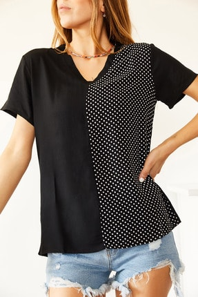 XHAN Kadın Siyah V Yaka Bluz 1