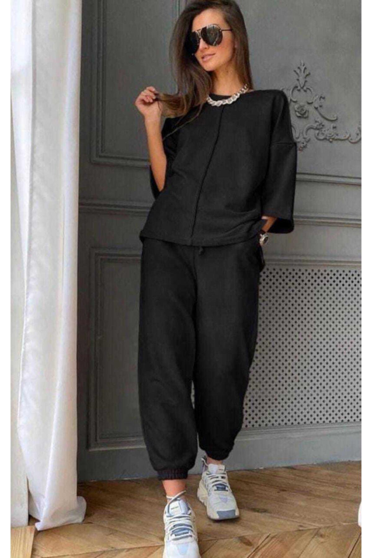 Kadın Siyah Renk Rengi Örme Alt Üst Eşofman Takımı Pantolon