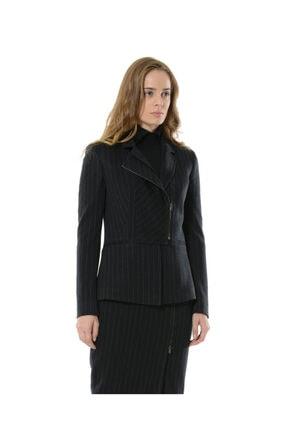 BİRELİN Kadın Lacivert Çizgili Yarım Fermuar Corine Ceket 0